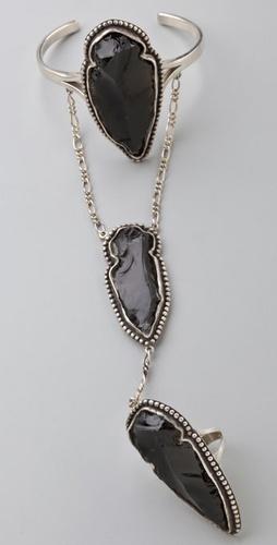 Pamela Love Arrowhead Chain Ring with Cuff