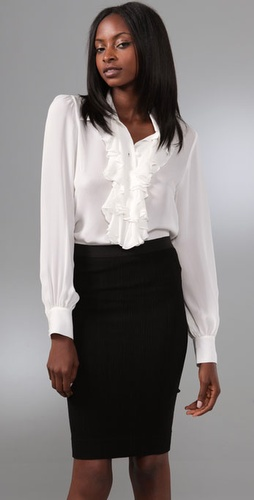 Parker Long Sleeve Ruffle Blouse