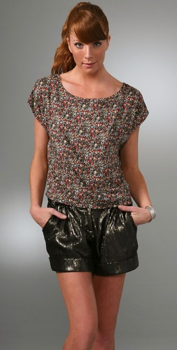 Patterson J. Kincaid Erin Button Back Top