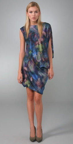 Print Asymmetrical Drape Dress
