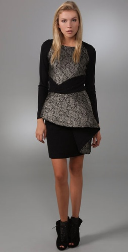 Prabal Gurung Lace Dress with Peplum