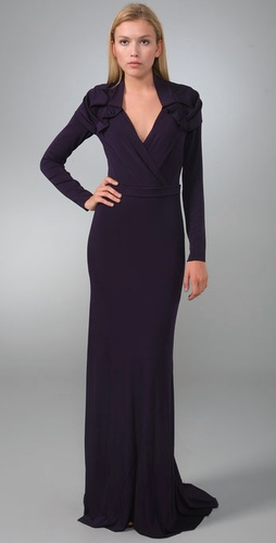 Rachel Roy Ruffle Shoulder Gown