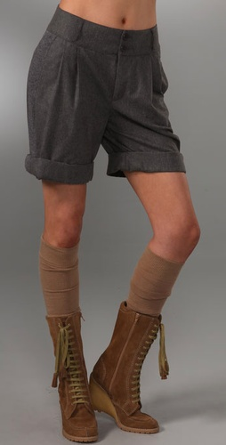 See By Chloe Ribbed Roll Shorts