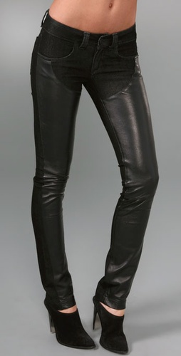 Serfontaine Fox Drain Pipe Jeans with Leather