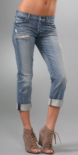 7 For All Mankind Rickie Boyfriend Jeans with Crystals