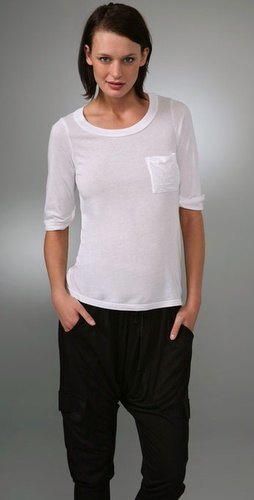 Splendid Very Light Jersey Pocket Tee with Rolled Sleeves