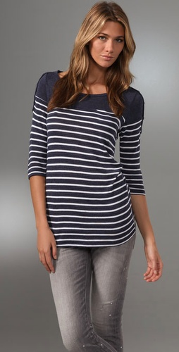 Splendid Navy Breton Stripe Top