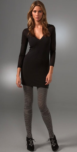 Splendid Novelty V Neck Dress With Zip Ba