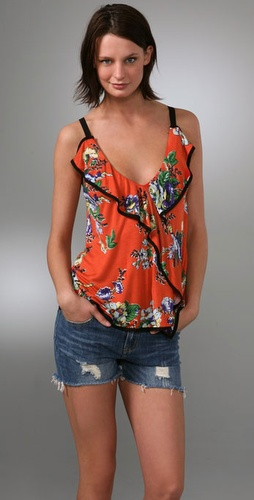 T-Bags Ruffle Front Tank
