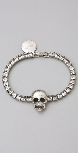 TOM BINNS Tough Chic Crystal Strand Skull Bracelet