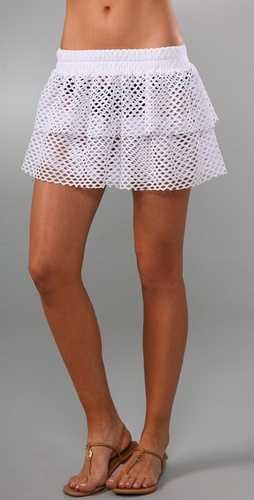 Thayer Net Ruffle Cover Up Miniskirt