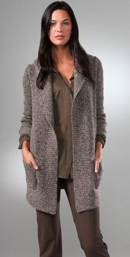 Theory Dania Long Cardigan With Big Colla