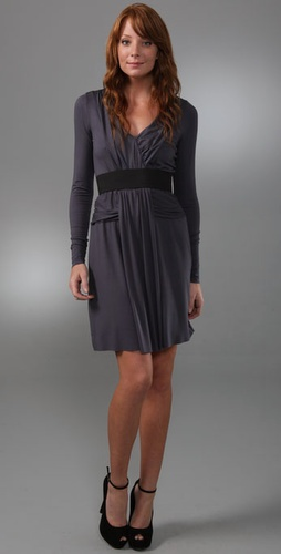 Three Dots Shirred Dress With Elastic Det