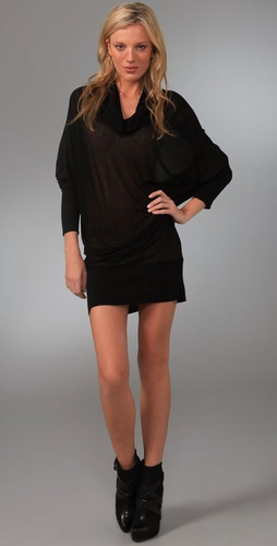 Three Dots Long Sleeve Draped Dress