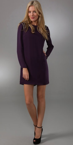 Tibi Shoulder Beaded Shift Dress