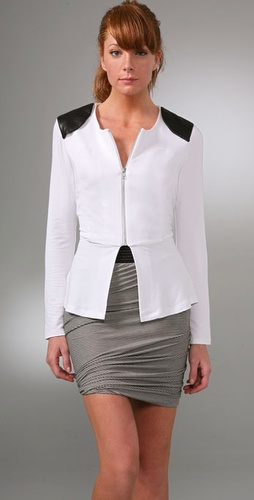 Torn by Ronny Kobo Kim Zipper Peplum Jacket with Leather Patch from shopbop.com