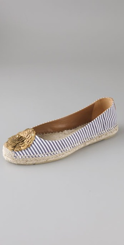 Tory Burch Espadrille Ballet Flats with Flower