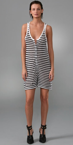 T by Alexander Wang Striped Baggy Oversized Romper