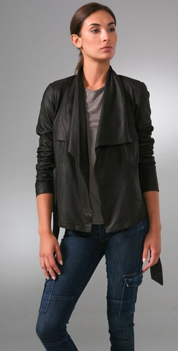Vince Self Tie Drape Leather Jacket
