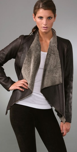 Vince Drape Front Leather Jacket