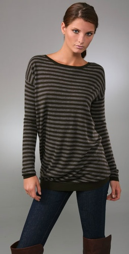 Vince Striped Asymmetrical Sweater