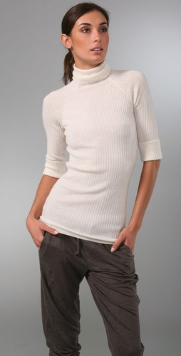 Vince Elbow Sleeve Turtleneck Cashmere Sweater