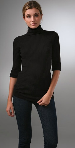 Vince Elbow Sleeve Turtleneck Cashmere Sw