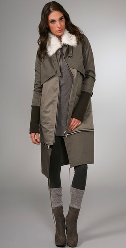 Victorialand Overlay Coat With Faux Fur C
