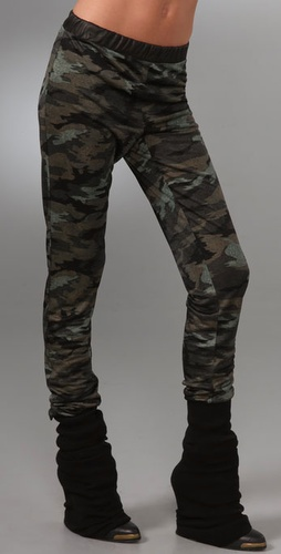 Wayne Camo Print Pants With Leather Trim
