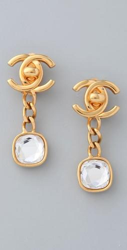 WGACA Vintage Vintage Chanel '97 CC Crystal Earrings