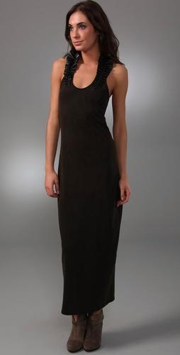 Woodford & Co Leather Ruffle Tank Dress
