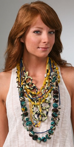  ZUBA Africa Yellow &amp; Indigo Bead Necklace Set, $198 @shopbop.com