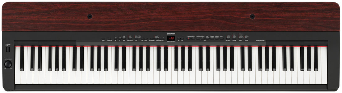 yamaha p155 contemporary piano with mahogany top board black musical instruments. Black Bedroom Furniture Sets. Home Design Ideas