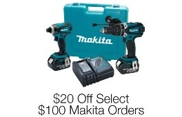 $20 Off Select $100 Makita Orders