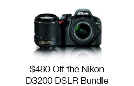 $480 Off the Nikon D3200 SLR with 18-55mm and 55-200 mm VR Lenses
