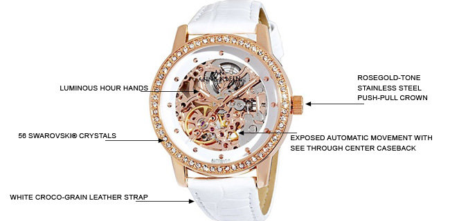 Anne Klein Womens 109154WTWT Automatic Swarovski Crystal Accented Rose Gold Tone Leather Watch