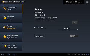 Main user interface norton security