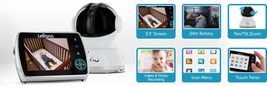 levana keera 3 5 pan titlt zoom video baby monitor with pi. Black Bedroom Furniture Sets. Home Design Ideas