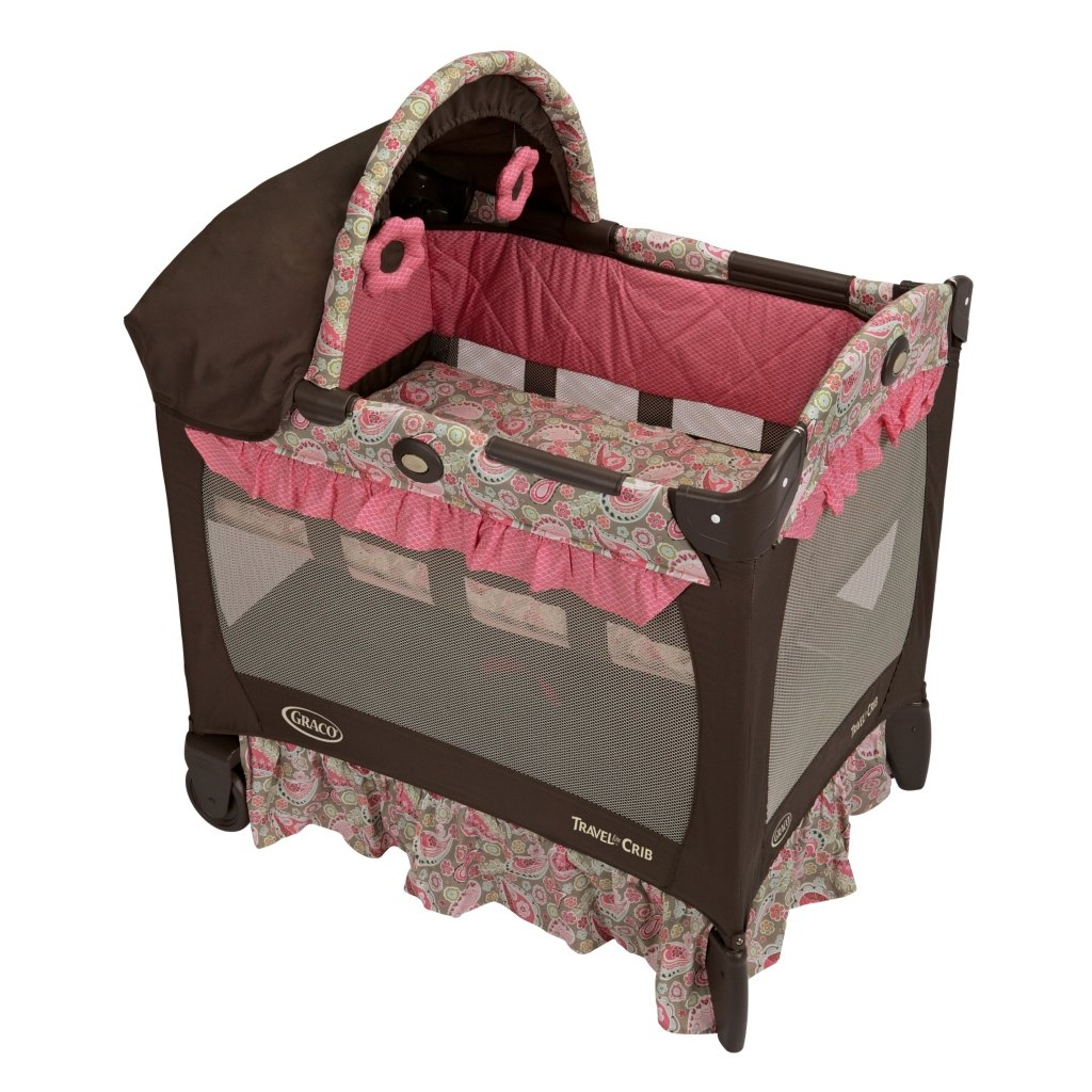 graco travel lite pink jaqueline playard pack n and play pen bassinet