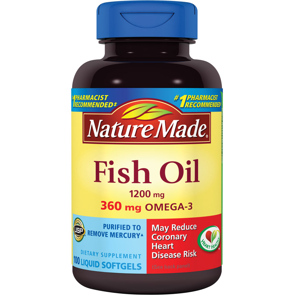 Nature made fish oil omega 3 1200mg 100 for Nature made fish oil