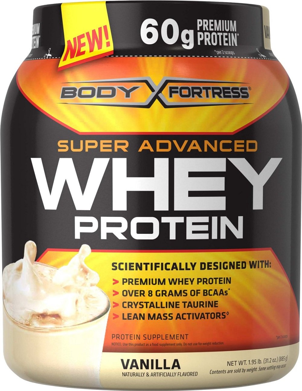Body Fortress Whey Protein Powder, Vanilla, 31.2 Ounces (885g) (Pack