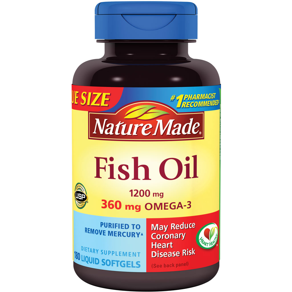 Nature made fish oil omega 3 1200mg 180 for Naturemade fish oil