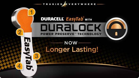 Duracell EasyTab with Duralock Power Preserve Technology - Now Longer Lasting!