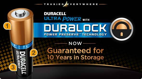 Duracell Ultra Power with Duralock Power Preserve Technology - Now guaranteed for up to 10 years in storage