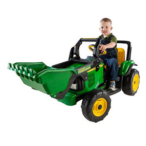 Kids will delight in operating this John Deere tractor with its extra-large front loader.