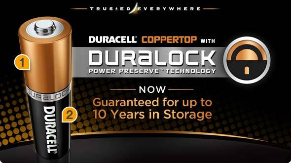 Duracell Coppertop with Duralock Power Preserve Technology - Now guaranteed for up to 10 years in storage