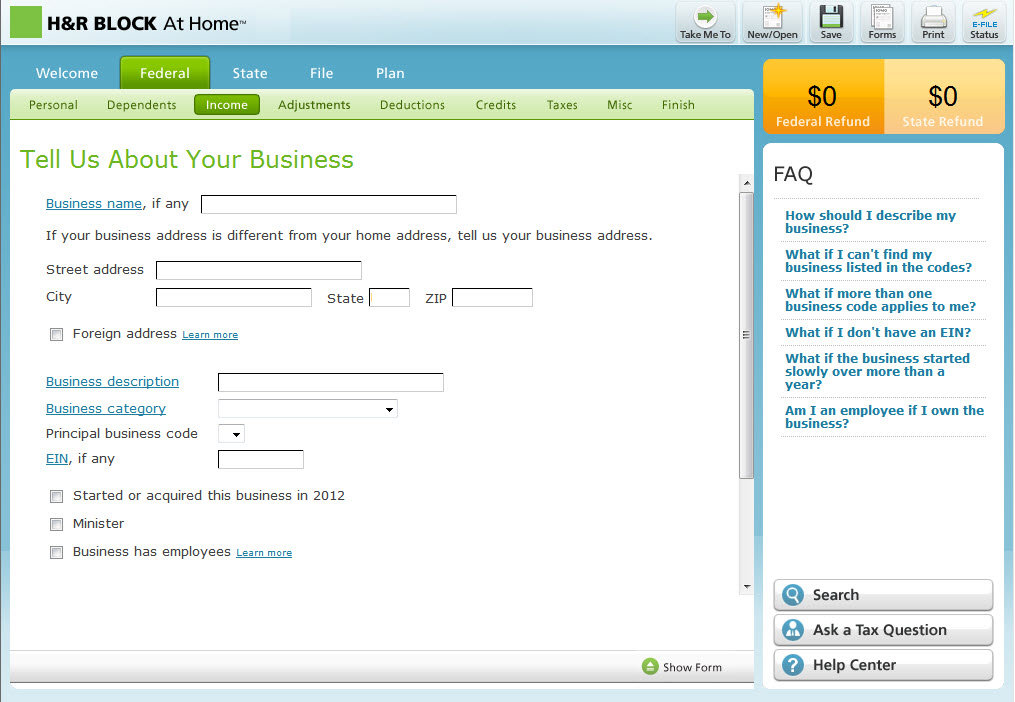 Details about H&R Block At Home Premium & Business 2012