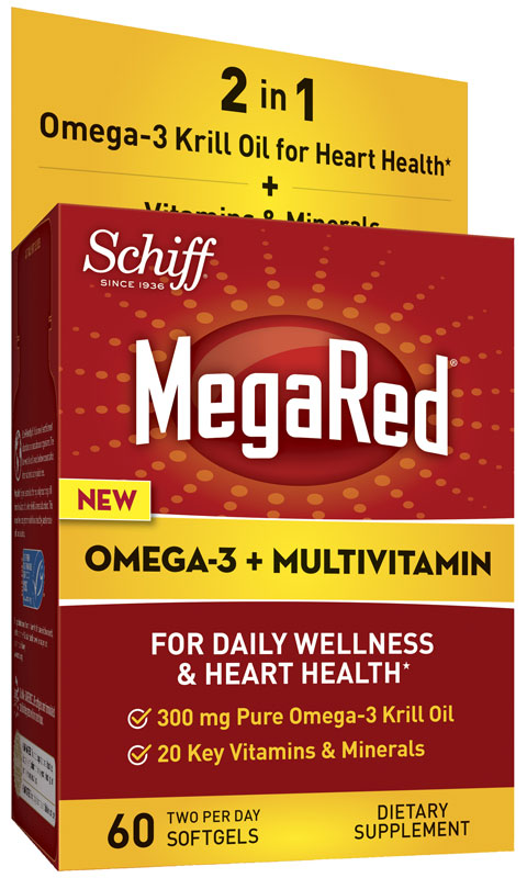 Megared omega 3 krill oil supplement multivitamin 60 for Daily recommended fish oil