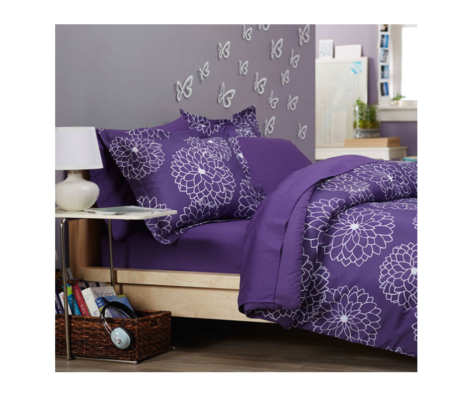 purple floral bed in a bag twin twin xl comforter blanket