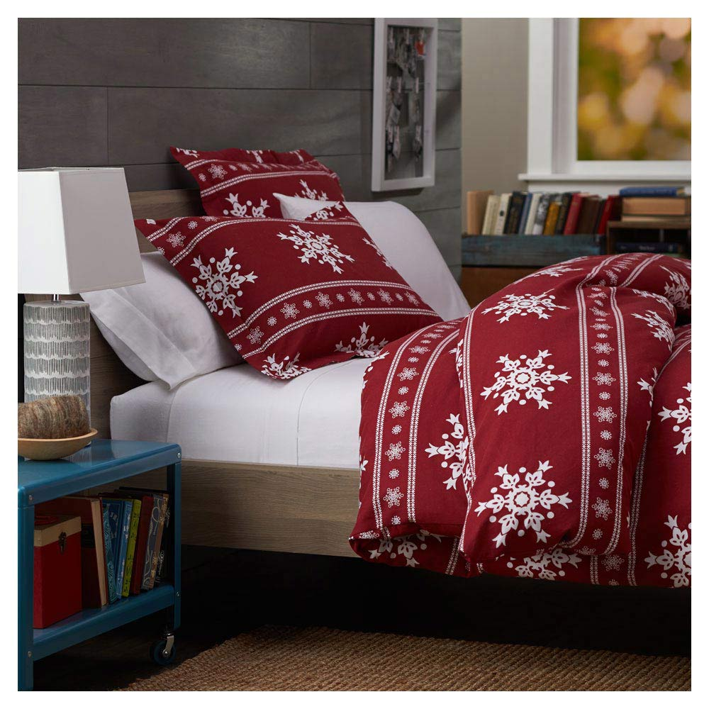 Duvet Cover 100% Cotton Christmas Snowflakes Soft Flannel ...